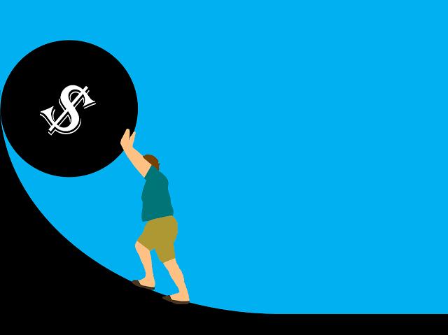 fundo-azul-bola-preta-pessoa-divida-caduca